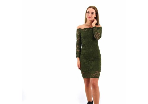Lovely lace dress off shoulder green