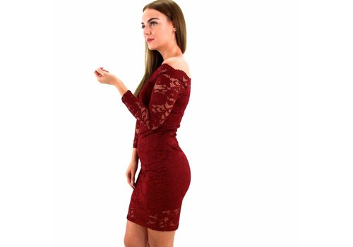Lovely lace dress off shoulder red