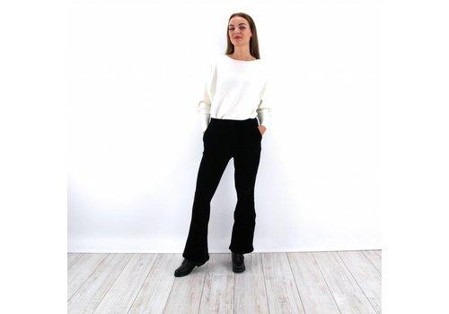 Black flared pants velvet