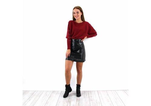Lak leather look skirt black