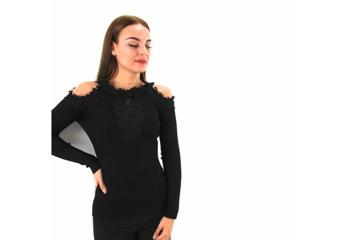 Off shoulder top lace black Moewy