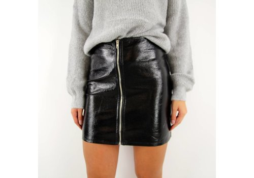 Leather look skirt black JCL