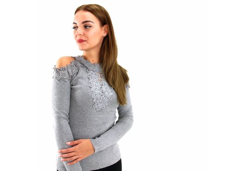 Off shoulder top lace grey Moewy