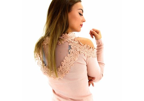 Off shoulder top lace pink Moewy