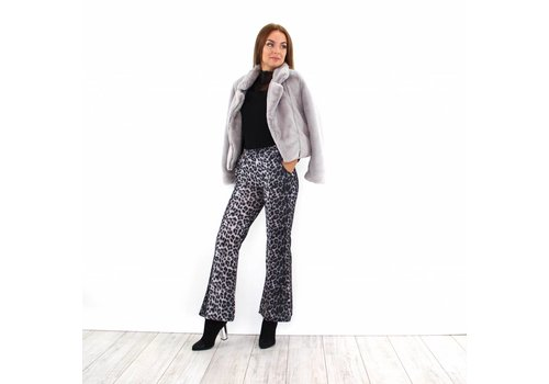 Grey leopard flare pants