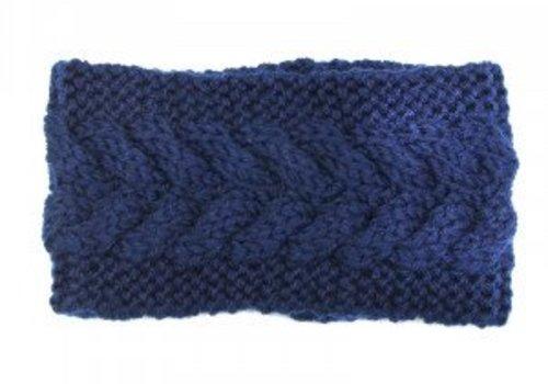 Headband winter braid blue