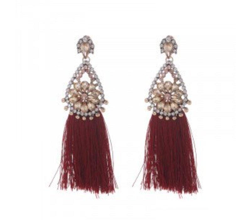 Earrings glam tassel red 145