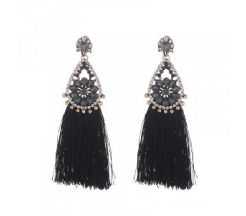 Earrings glam tassel black 145