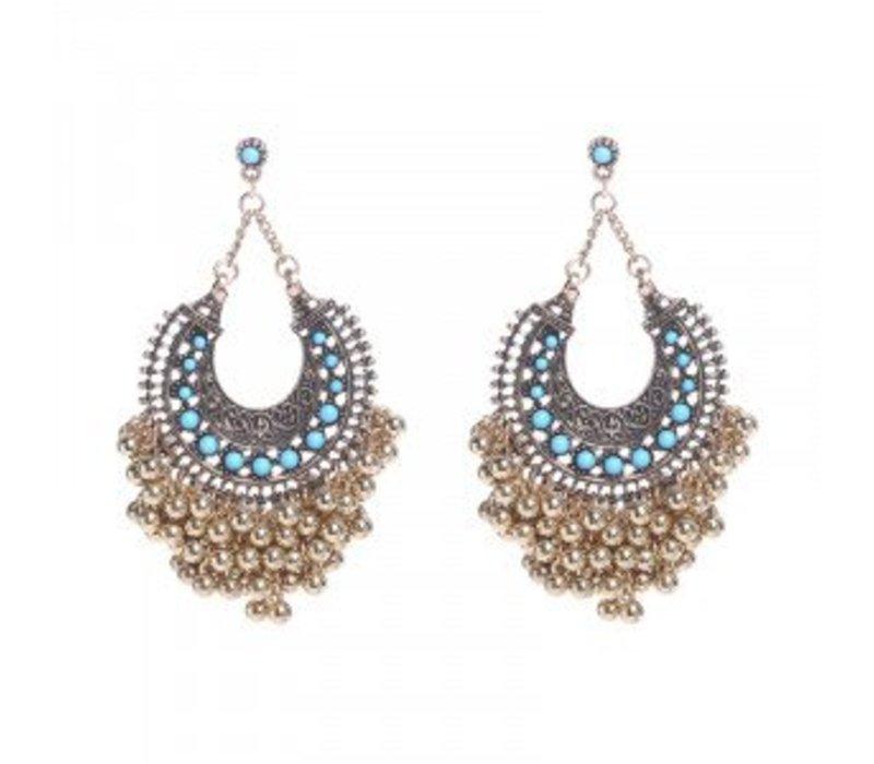Earrings turquoise fantasy gold 148