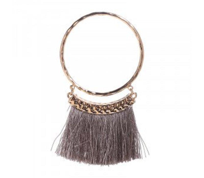 Earrings tassel circle taupe2146