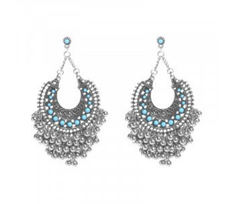 Earrings turquoise fantasy silver