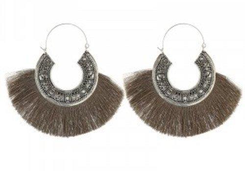 Earrings tassel mania taupe