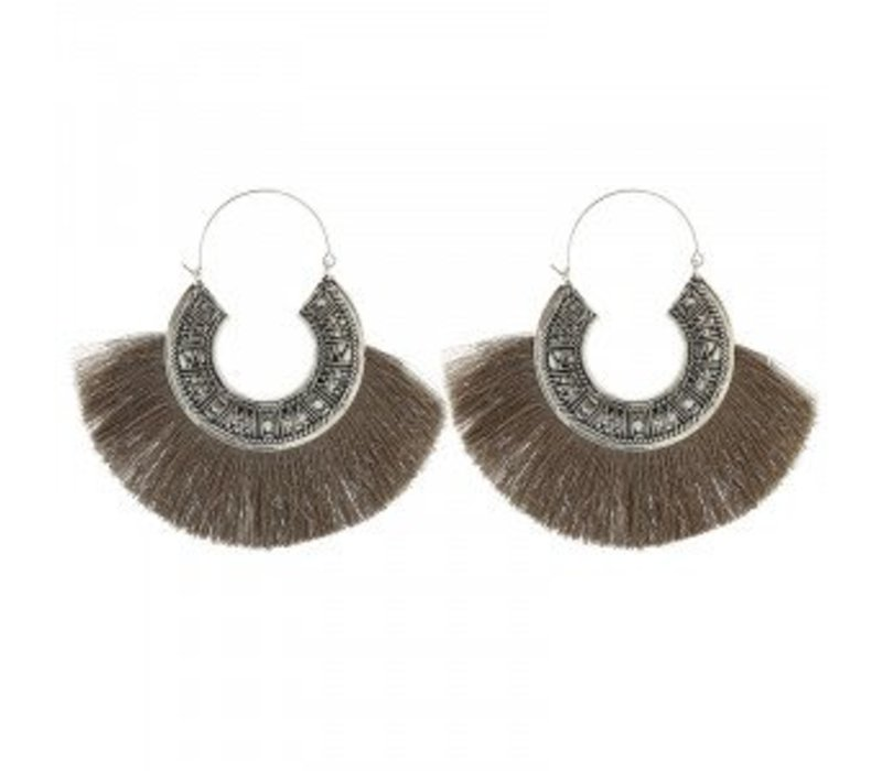 Earrings tassel mania taupe 174