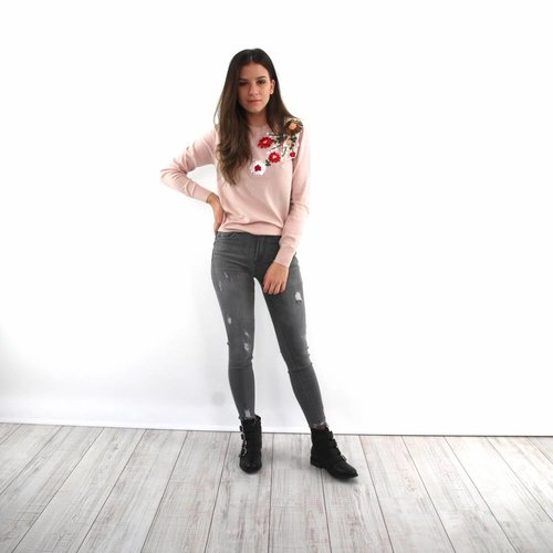 Queen Hearts Queen Hearts jeans grey fray hem