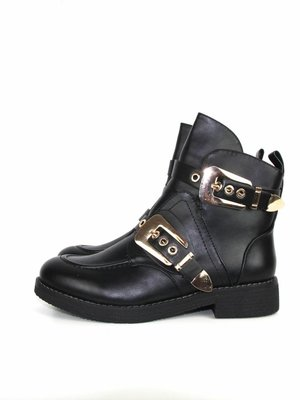 Kayla Black boots gold buckle