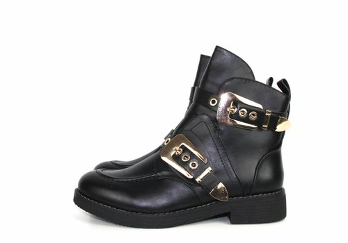Black boots gold buckle