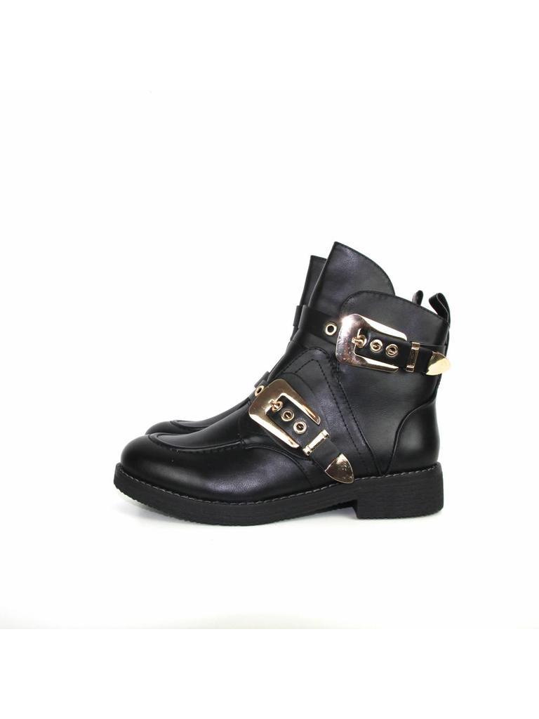 Kayla Black boots gold buckle