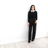 Casual stripe black pants