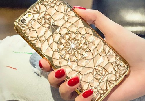 Iphone 6s case gold diamant