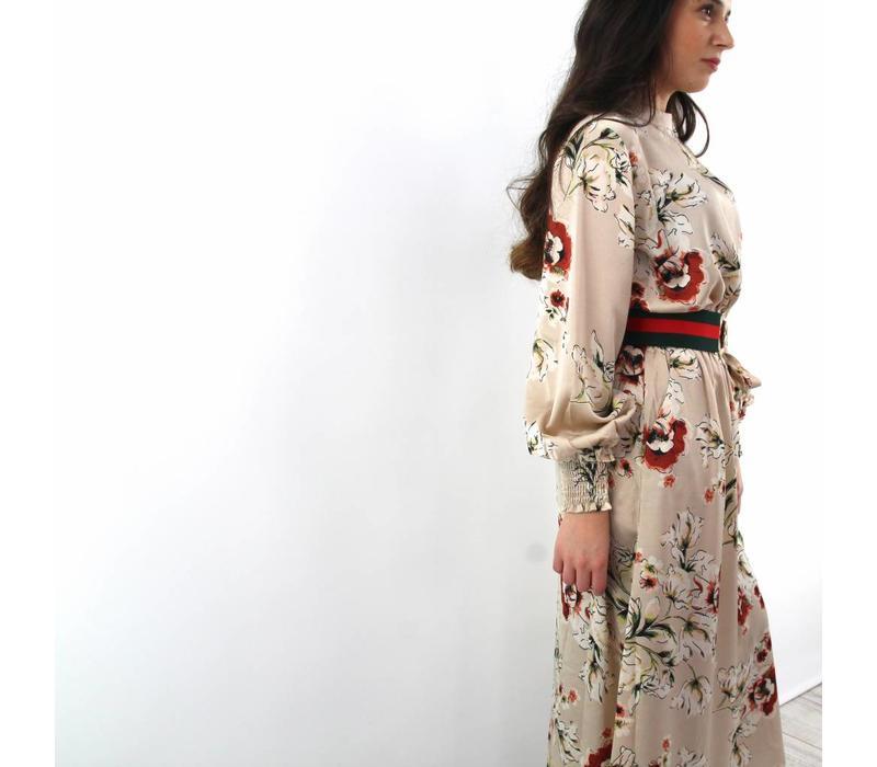 Pretty flowerpower long dress creme