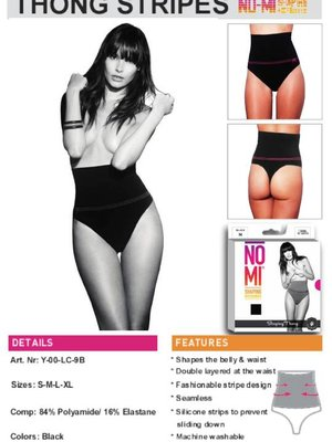 NO-MI bodywear Thong stripes  black