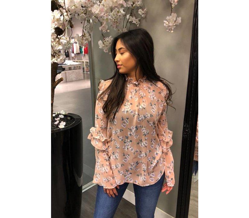 Flower volant blouse roze