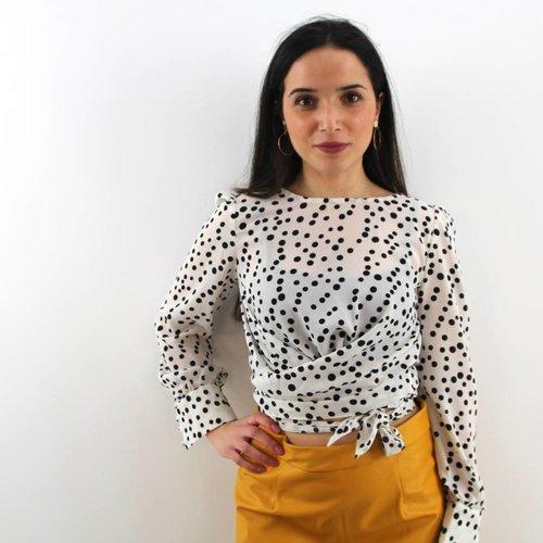 Eight Dutch dots white blouse