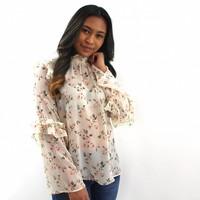 Flower volant blouse white