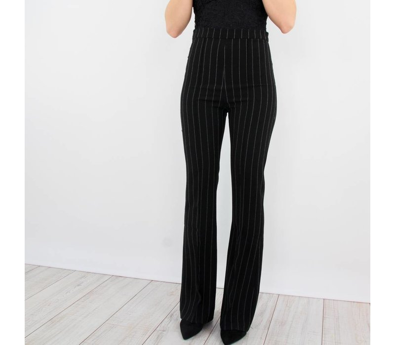 Busy striped flared pants black