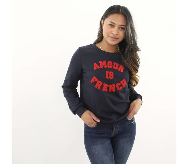 Amour is french sweater dark blue