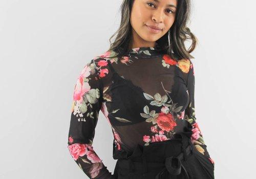 Voyelles See through flower shirt