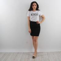 Suedine skirt black