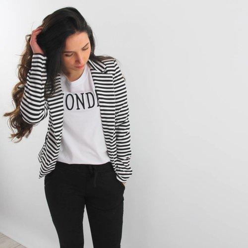 Miss one B&W striped blazer