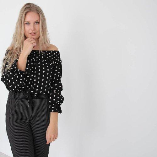 Simoni Off shoulder dots blouse