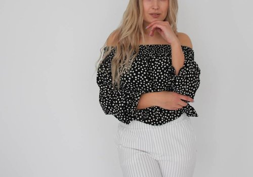 Simoni Off shoulder middle dots blouse