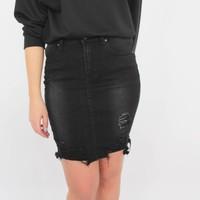 Jeans short skirt black