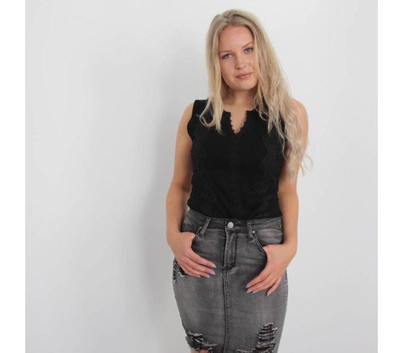 Lace shirt black