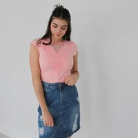 Lace t-shirt rose