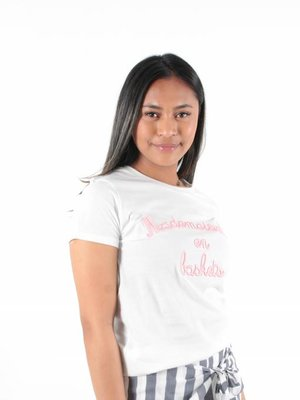 Vintage Dressing Mademoiselle en baskets t-shirt pink