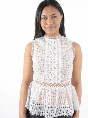 Lucy Wang Peplum lace white