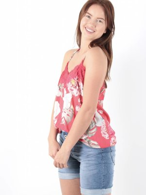 Ladylike Flower lace top red