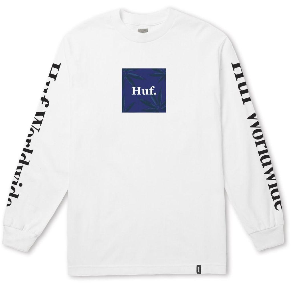 HUF HUF, PLP L/S WOVEN LABEL TEE, WHITE
