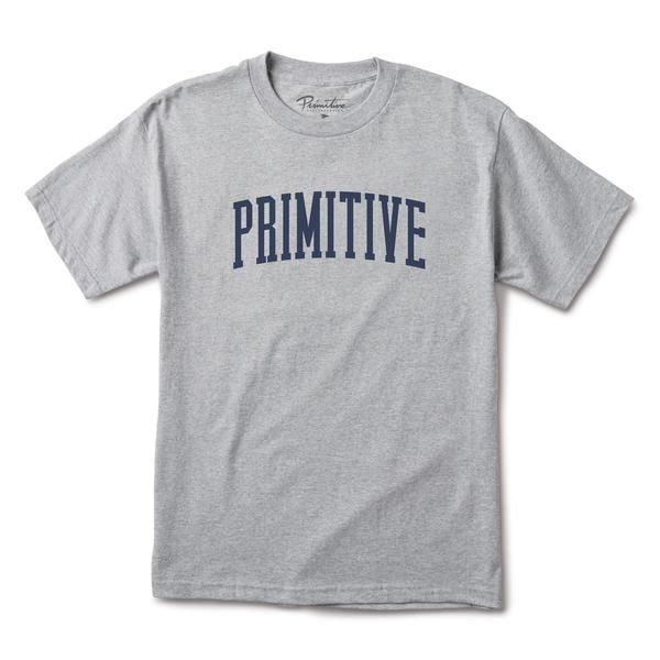 PRIMITIVE PRIMITIVE, COLLEGIATE ARCH TEE, ATHLETIC HEATHER