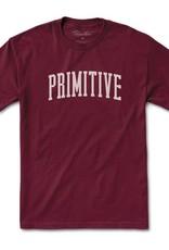 PRIMITIVE PRIMITIVE, COLLEGIATE ARCH TEE, BURGUNDY