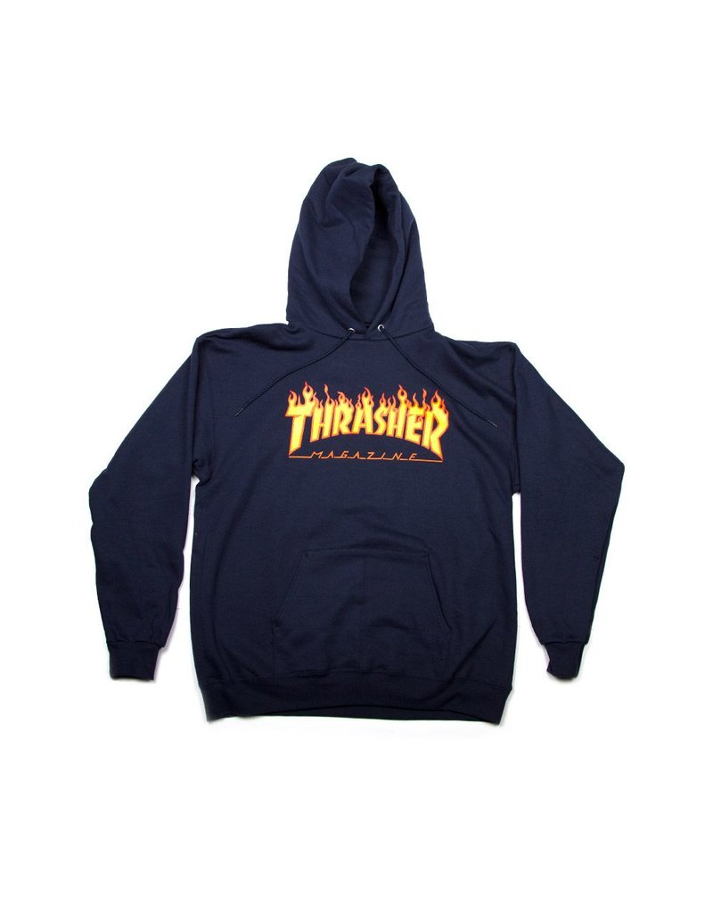 Thrasher THRASHER FLAME HOODED SWEAT NAVY