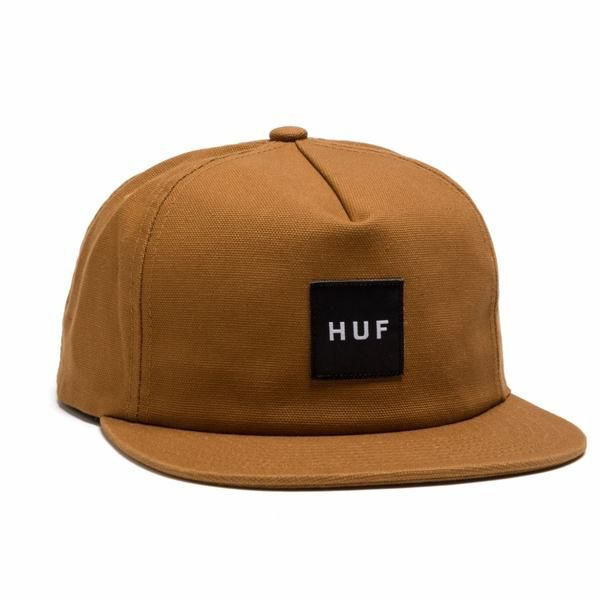 HUF HUF, WASH CANVAS BOX LOGO SNAPBACK, CARAMEL