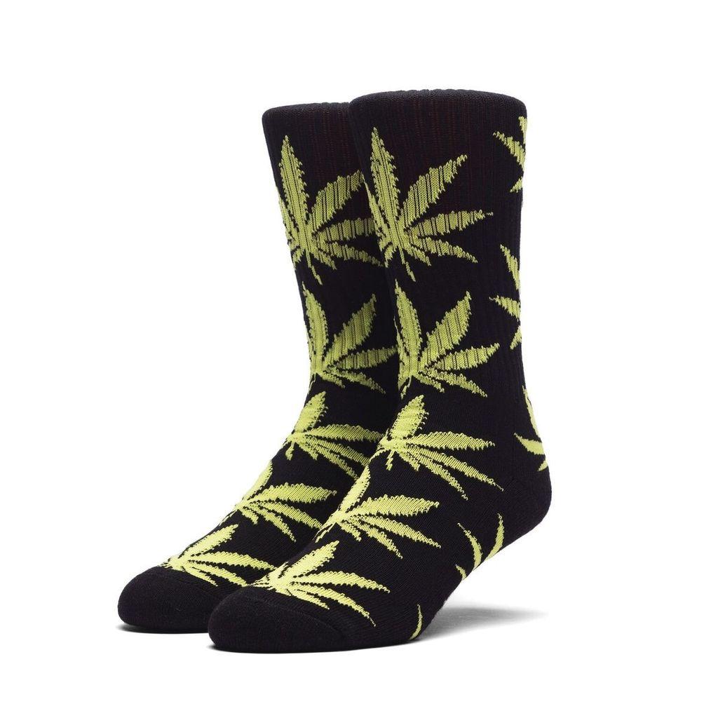 HUF HUF, PLANTLIFE CREW SOCK, BLACK/NEON GREEN