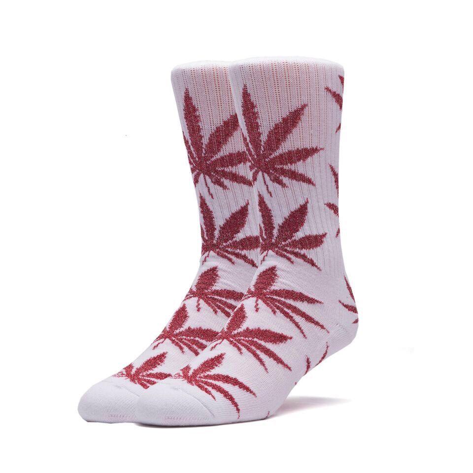 HUF HUF, TINSEL PLANTLIFE SOCK, WHITE/RED