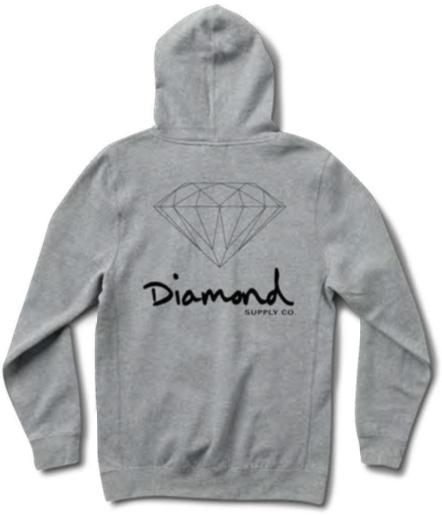 DIAMOND DIAMOND, OG SIGN HOODIE HO17, HEATHER GREY