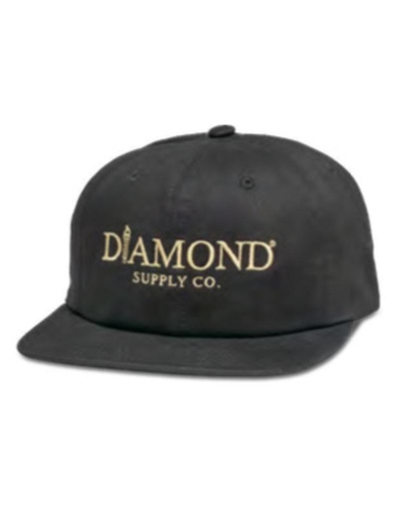 DIAMOND DIAMOND, MAYFAIR UNCONSTRUCTED STRAPBACK, BLACK